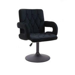 Kosmetická židle BOSTON VELUR na černém talíři - černá