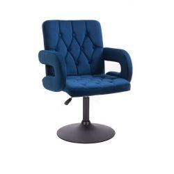 Kosmetická židle BOSTON VELUR na černém talíři - modrá