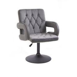 Kosmetická židle BOSTON VELUR na černém talíři - šedá