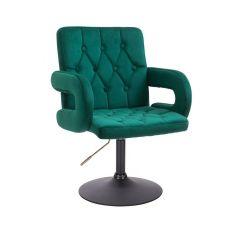 Kosmetická židle BOSTON VELUR na černém talíři - zelená