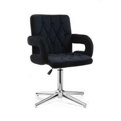 Kosmetická židle BOSTON VELUR na stříbrném kříži - černá
