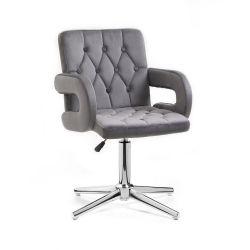 Kosmetická židle BOSTON VELUR na stříbrném kříži - šedá