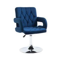 Kosmetická židle BOSTON VELUR na stříbrném talíři - modrá