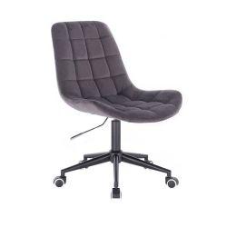 Kosmetická židle PARIS VELUR na černé podstavě s kolečky - šedá