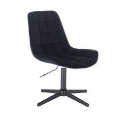 Kosmetická židle PARIS VELUR na černém  kříži - černá