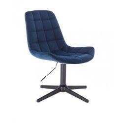 Kosmetická židle PARIS VELUR na černém  kříži - modrá