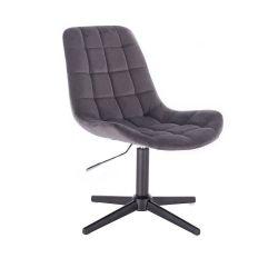 Kosmetická židle PARIS VELUR na černém  kříži - šedá