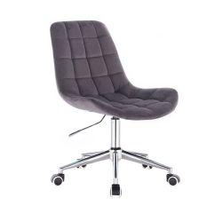 Kosmetická židle PARIS VELUR na stříbrné podstavě s kolečky - šedá