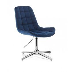 Kosmetická židle PARIS VELUR na stříbrném kříži - modrá
