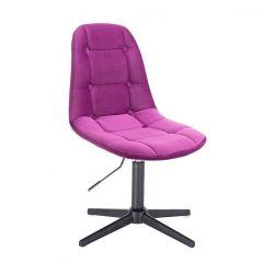 Kosmetická židle SAMSON VELUR na černém kříži - fuchsie