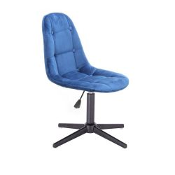 Kosmetická židle SAMSON VELUR na černém kříži - modrá