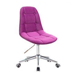 Kosmetická židle SAMSON VELUR na stříbrné podstavě s kolečky - fuchsie