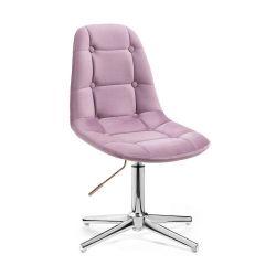Kosmetická židle SAMSON VELUR na stříbrném kříži - fialový vřes