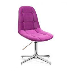Kosmetická židle SAMSON VELUR na stříbrném kříži - fuchsie