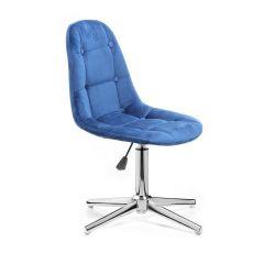 Kosmetická židle SAMSON VELUR na stříbrném kříži - modrá