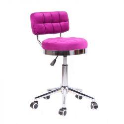 Kosmetická židle VIGO VELUR na stříbrné základně s kolečky - tmavě růžová
