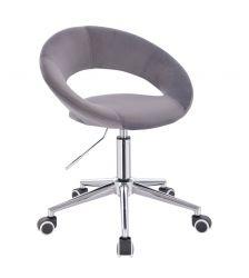 Kosmetická židle NAPOLI VELUR na stříbrné podstavě s kolečky - tmavě šedá