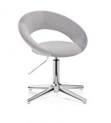 Kosmetická židle NAPOLI VELUR na stříbrném kříži - světle šedá