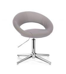 Kosmetická židle NAPOLI na stříbrném kříži - šedá