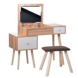 Toaletní stolek STELLA - zrcadlo - 2 zásuvky + taburet