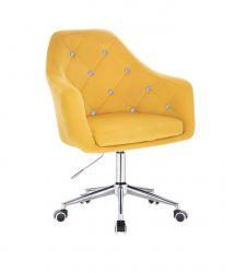 Kosmetické křeslo ROMA VELUR na stříbrné podstavě s kolečky - žluté