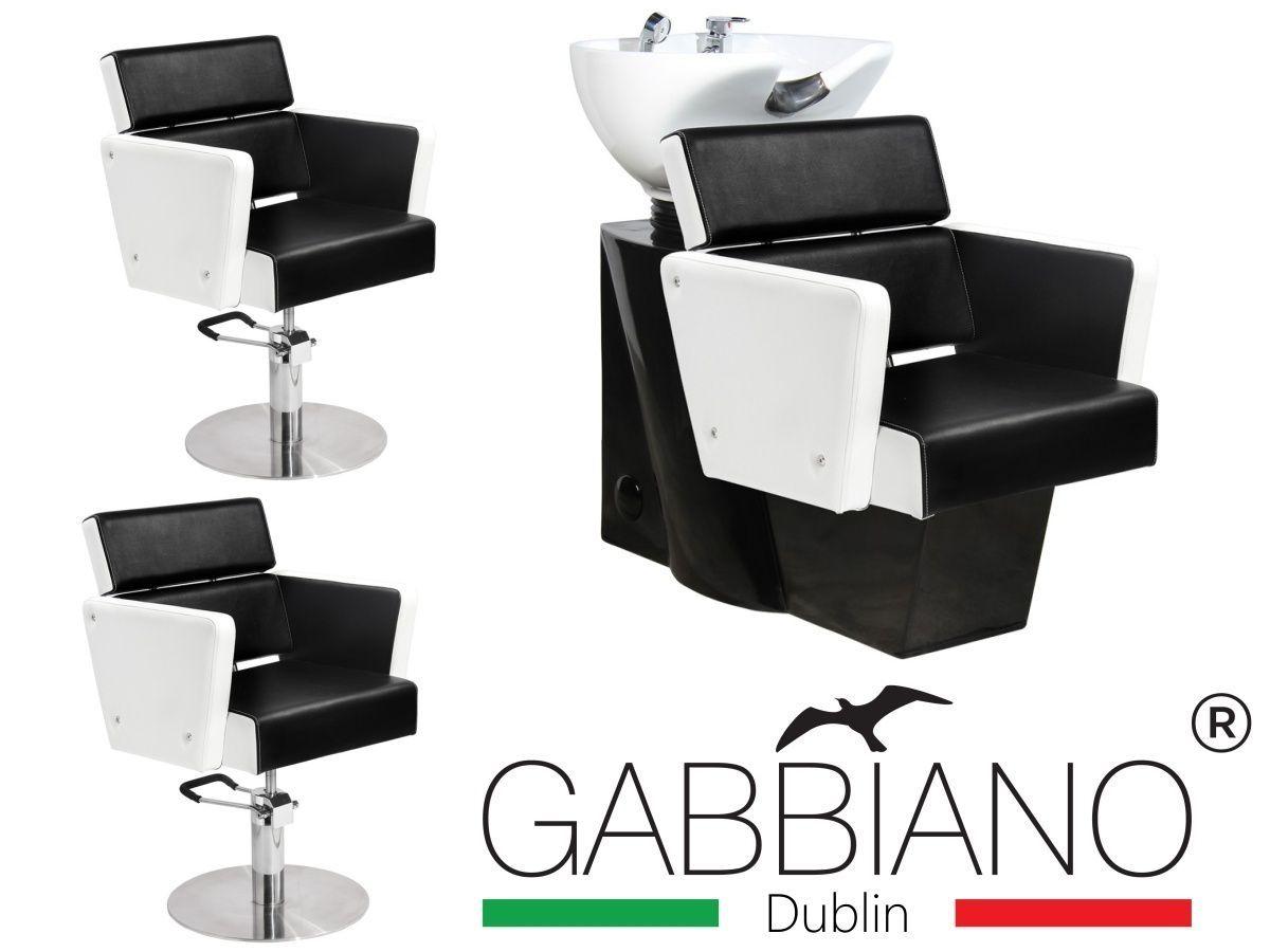 Kadeřnický set 2+1 GABBIANO DUBLIN bílo-černý
