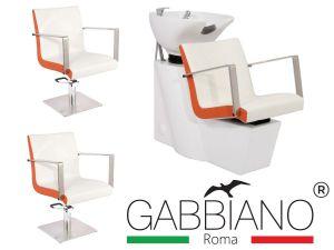 Kadeřnický set 2+1 GABBIANO ROMA bílo-oranžový (AS)