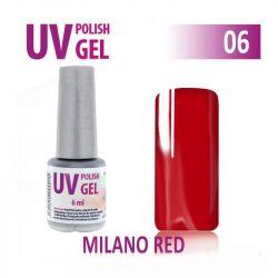 06.UV gel lak hybridní MILANO RED temná červená 6 ml (A)