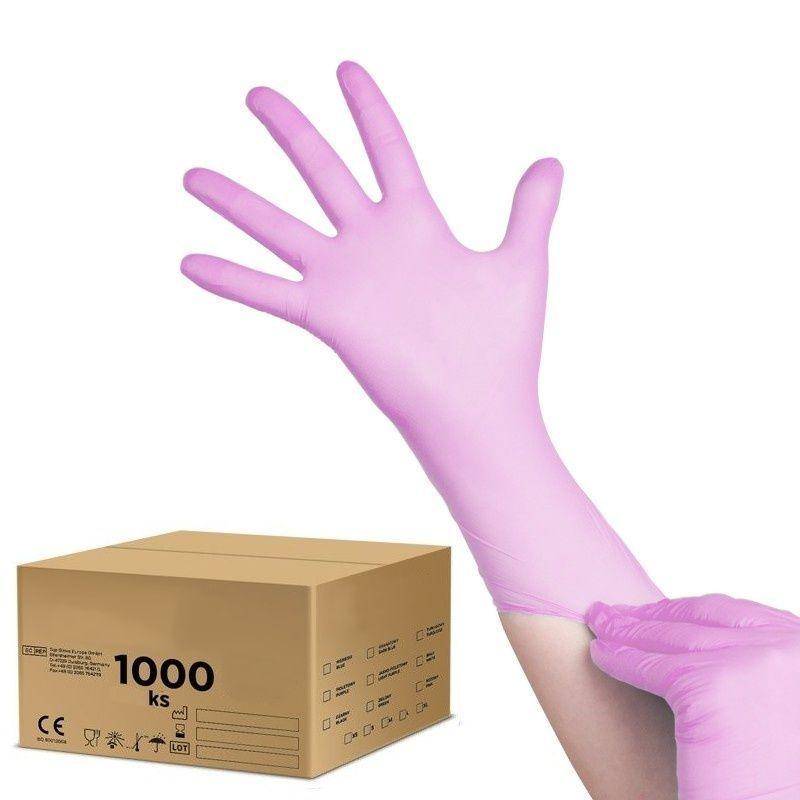 Jednorázové nitrilové rukavice růžové - velikost XS - karton 10ks
