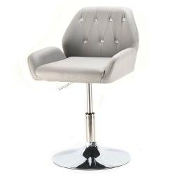 Kosmetická židle LION na stříbrné kulaté podstavě - šedá