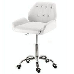 Kosmetická židle LION na stříbrné podstavě s kolečky - bílá