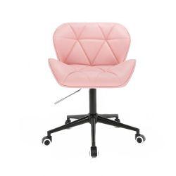 Kosmetická židle MILANO na černé podstavě s kolečky - růžová