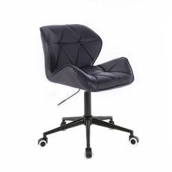 Kosmetická židle MILANO na černé podstavě s kolečky - černá