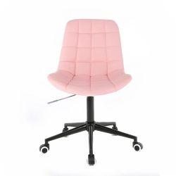Kosmetická židle PARIS na černé podstavě s kolečky - růžová
