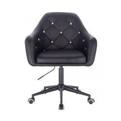 Kosmetická židle ROMA na černé podstavě s kolečky - černá