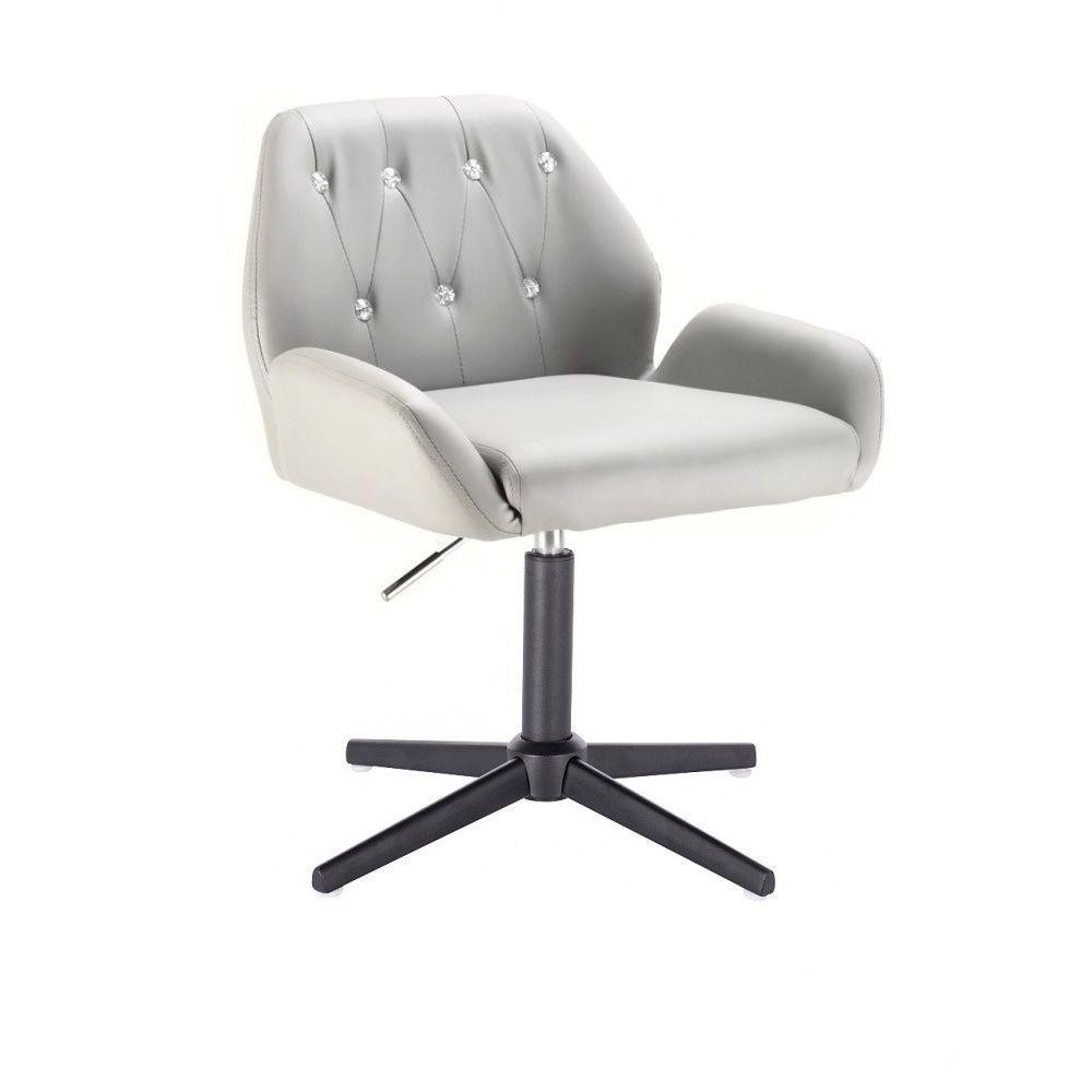 Kosmetická židle LION na černém kříži - šedá