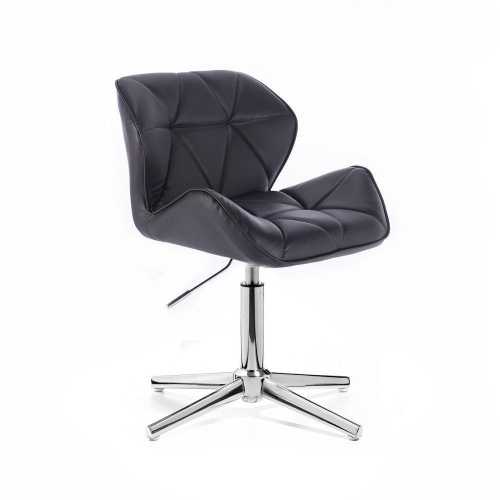 Kosmetická židle MILANO na stříbrném kříži - černá