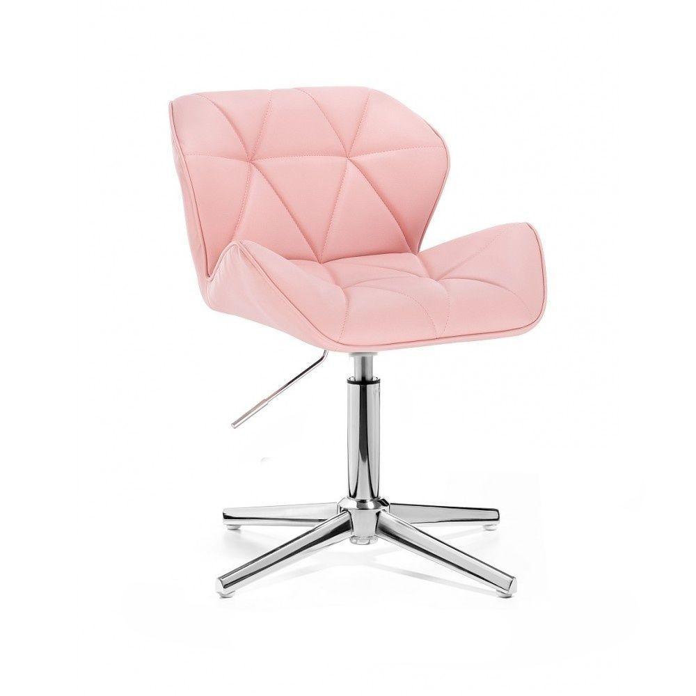 Kosmetická židle MILANO na stříbrném kříži - růžová