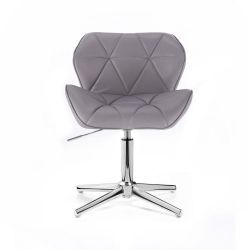 Kosmetická židle MILANO na stříbrném kříži - šedá