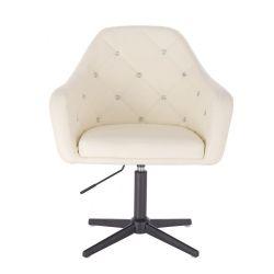 Kosmetická židle ROMA na černém kříži - krémová