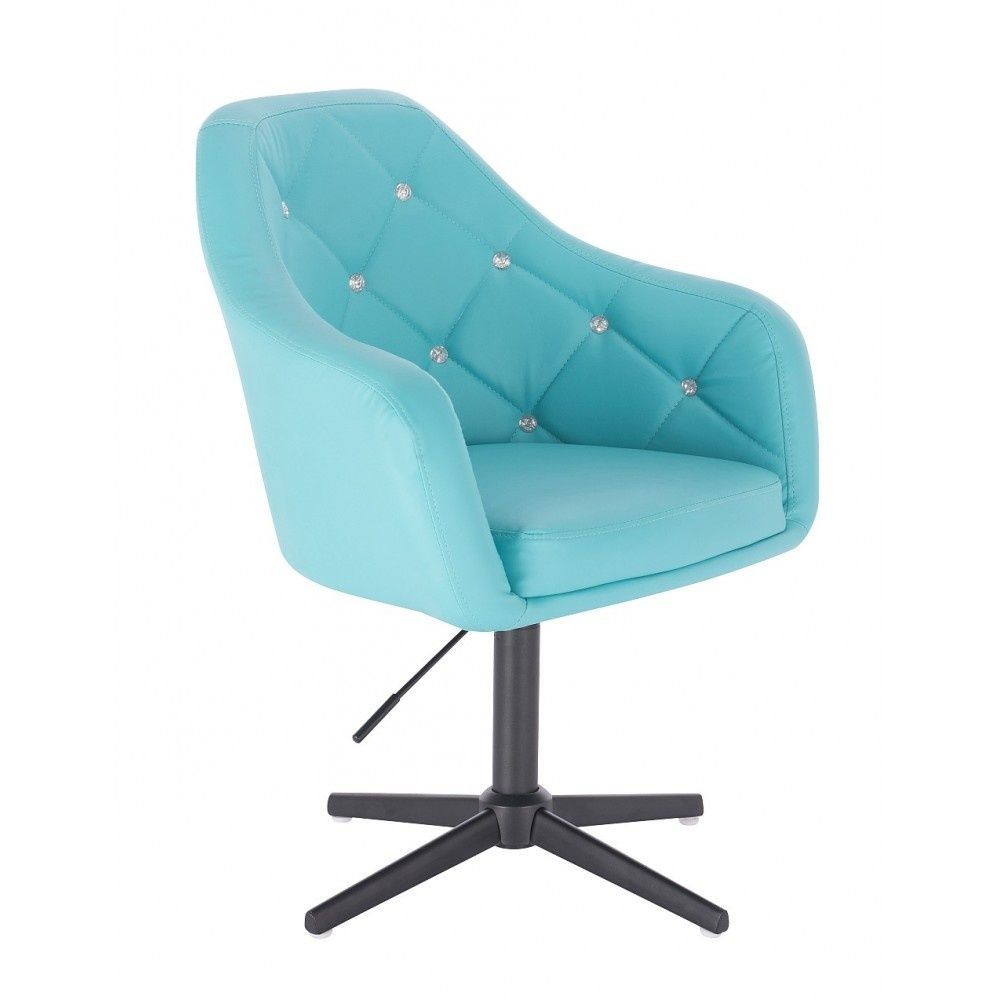 Kosmetická židle ROMA na černém kříži - tyrkysová