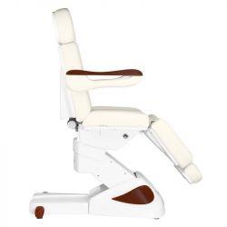 Elektrické kosmetické křeslo ECLIPSE - 3 motory - bílé + tmavé dřevo