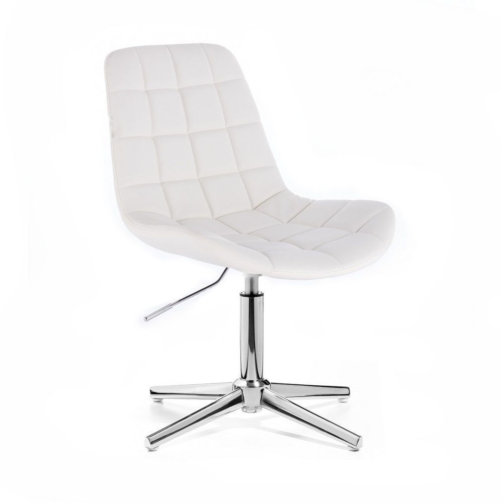 Kosmetická židle HC590 na stříbrném kříži - bílá