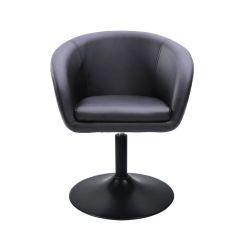 Kosmetická židle VENICE na černé kulaté podstavě - černá