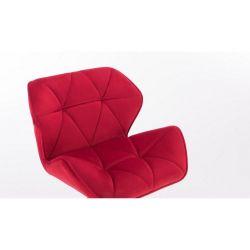 Kosmetická židle MILANO VELUR na černé podstavě s kolečky - červená