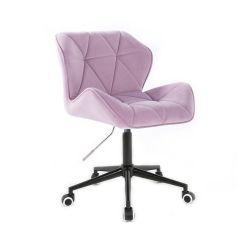 Kosmetická židle MILANO VELUR na černé podstavě s kolečky - fialový vřes