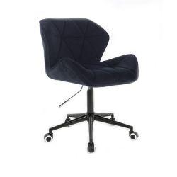 Kosmetická židle MILANO VELUR na černé podstavě s kolečky - černá