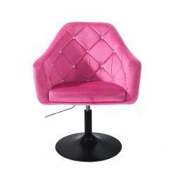 Kosmetické křeslo ROMA VELUR na černém talíři - růžová