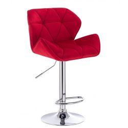 Barová židle MILANO VELUR na kulaté stříbrné podstavě - červená