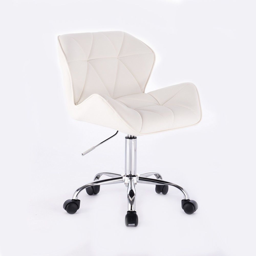 Kosmetická židle MILANO na podstavě s kolečky bílá